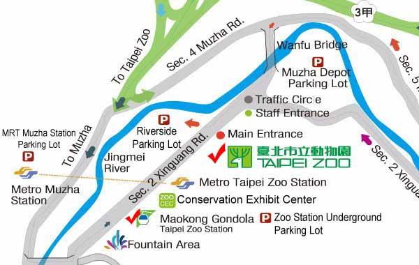 Transportation to Taipei Zoo Maokong Gondola MAP