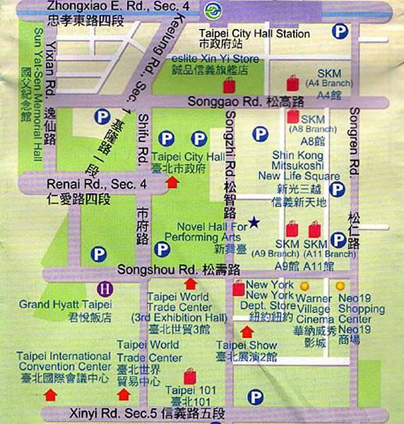 xinyi-shopping-area-eslite-taipei-101-taiwan-map