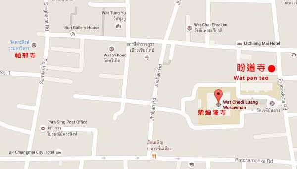 清邁古城Wat pan tao盼道寺map