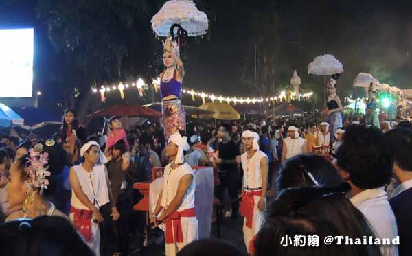 清邁古城到賓河 (Ping River) 水燈花車遊行大隊
