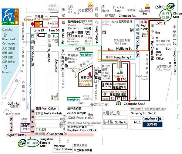 Ximenting (Ximending) tourist attractions Map3