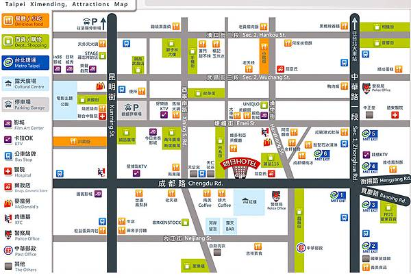 Ximenting (Ximending) tourist attractions Map