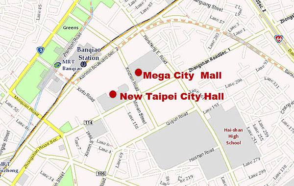 New Taipei City Hall Banqiao Mega City Shopping Mall MAP