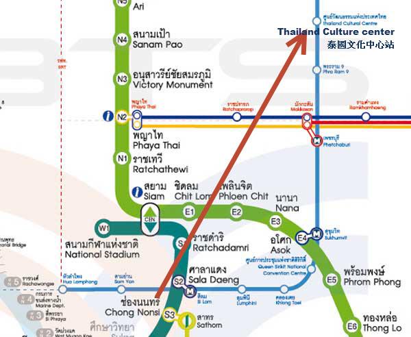 bts捷運silom站換地鐵Thailand Culture center泰國文化中心站