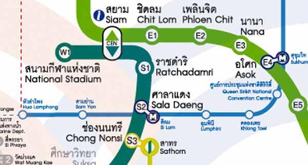 捷運路線圖BTS捷運Chong Nonsi站-CHIT LOM站