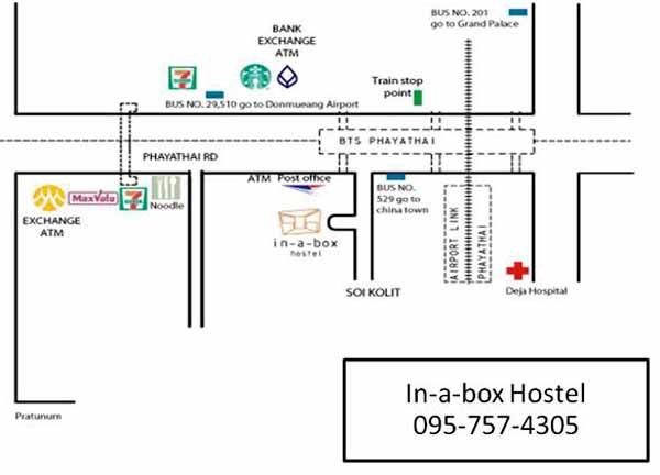 In a Box Hostel曼谷盒子背包客青年旅館@BTS Phaya Thai站MAP.jpg