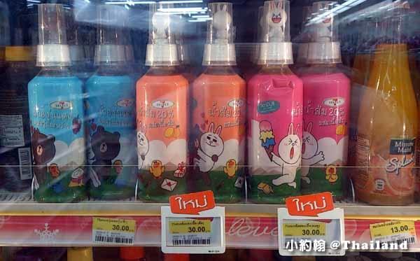 泰國曼谷7-11 LINE FRIENDS 熊大兔兔果汁送公仔
