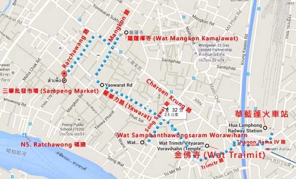 泰國曼谷中國城唐人街Sampeng Lane Market MAP