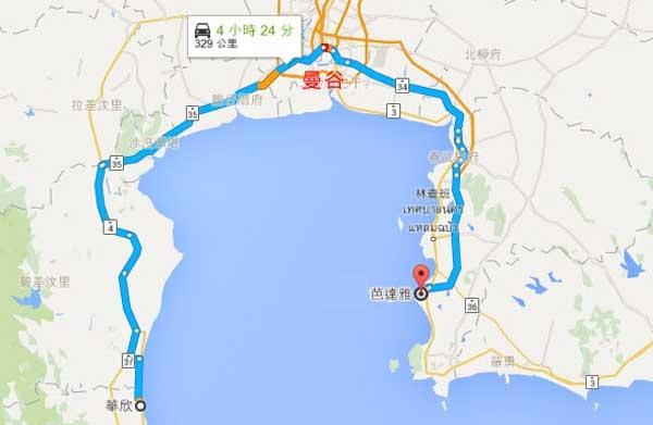 華欣到芭達雅車程map