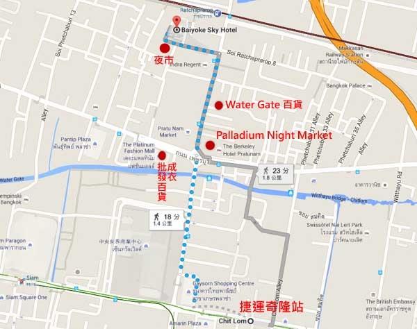 BTS Chit Lom-Baiyoke Sky Hotel map