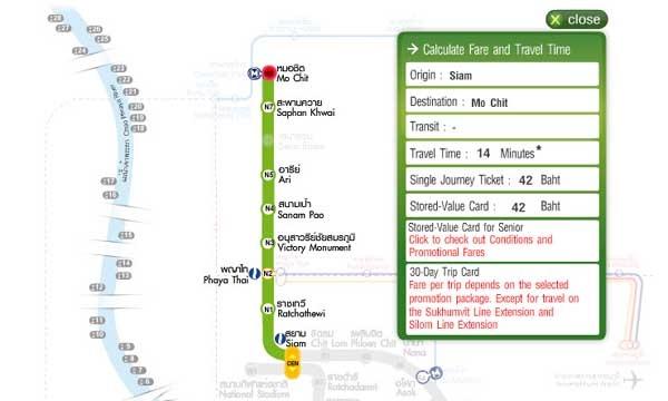 BTS捷運官網有提供票價時間查詢系統