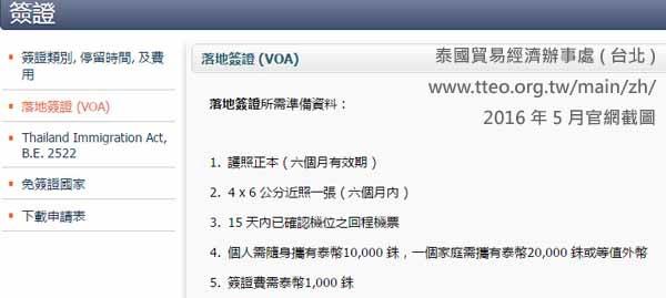 泰國落地簽證 (VOA) 準備資料