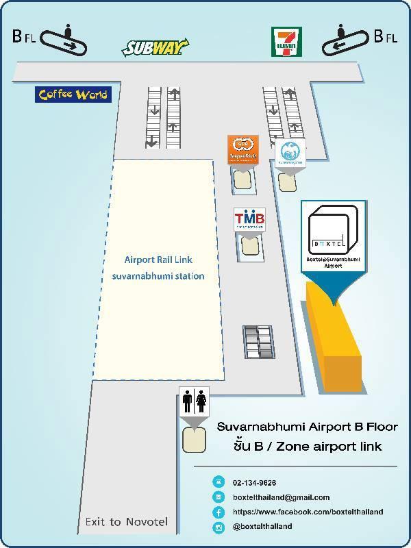 Boxtel Sleeping Box hotel Suvarnabhumi Airport map.jpg