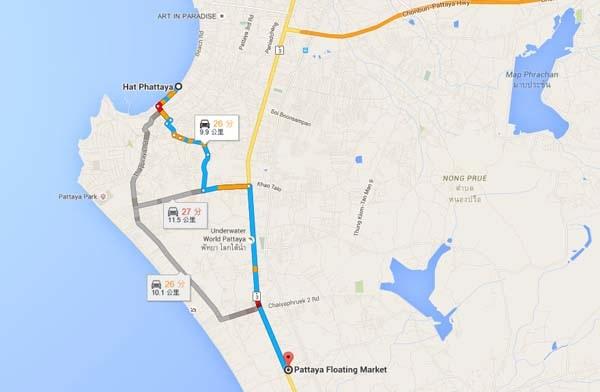 Pattaya Floating Market MAP