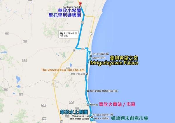 華欣自由行行程景點地圖排列map