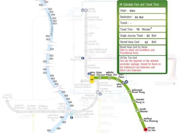 曼谷bts捷運Siam站到on nut站