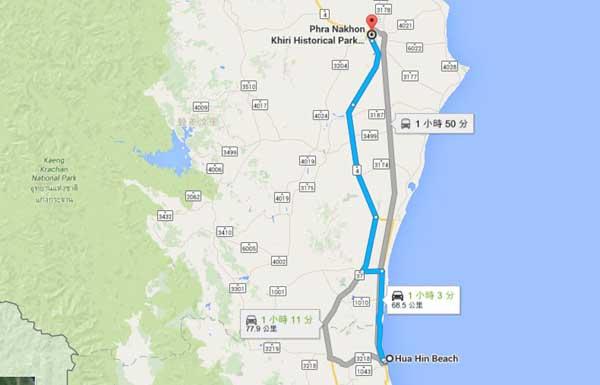 Phra Nakhon Khiri Historical Park map
