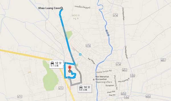 拷汪宮Khao Wang拷龍穴(Tham Khao Luang Cave)map