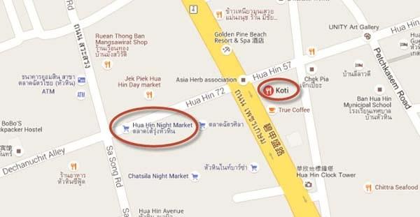 Koti Hua Hin Restaurant MAP