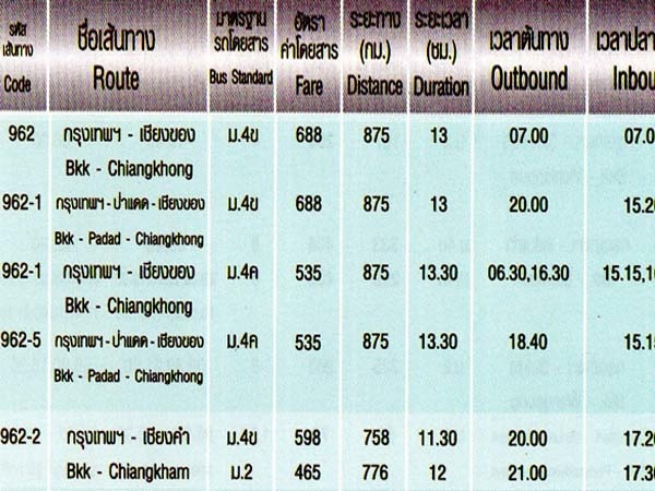 Northern Bus Terminal (Mo Chit)曼谷北巴士站時間表
