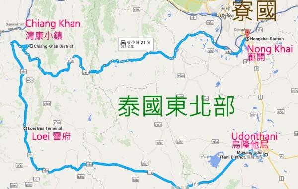 泰國東北部旅遊map