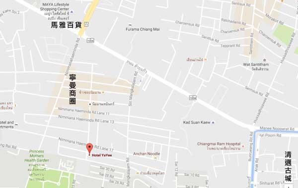 Hotel YaYee Chiang Mai Thailand map