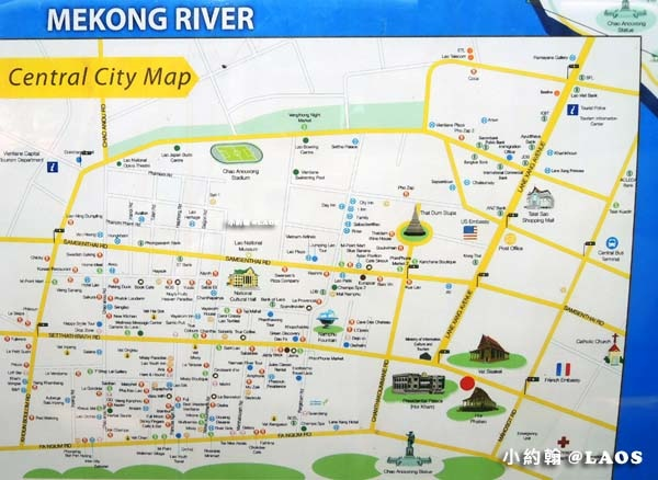 LAOS Vientiane City Travel Map S