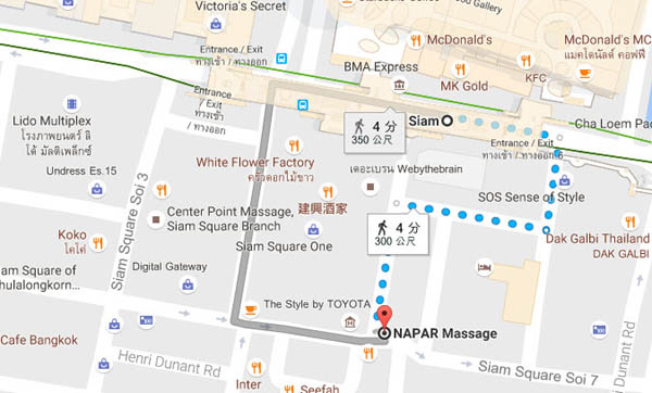 曼谷按摩Napar Massage Siam Square MAP.jpg