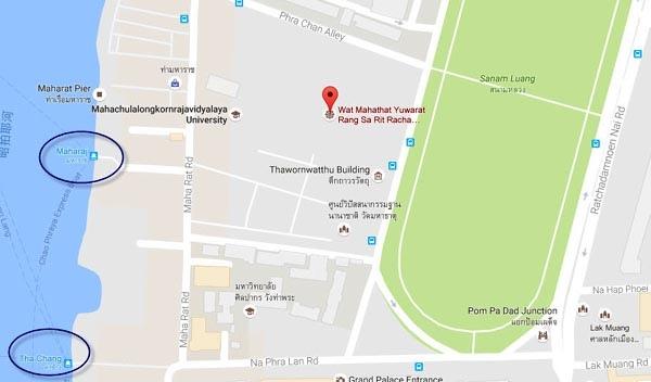 曼谷瑪哈泰寺 Wat Mahathat MAP