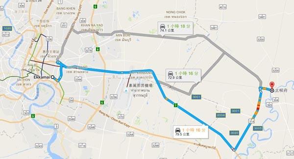 曼谷東巴士站往北柳府Chachoengsao