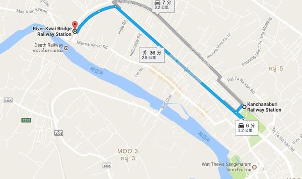 Kanchanaburi Railway Station River Kwai Bridge MAp