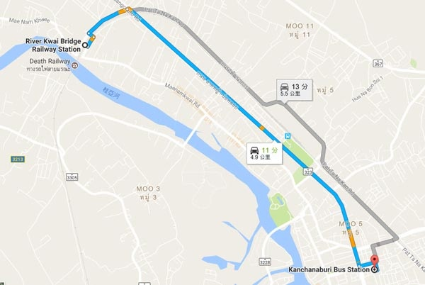 Kanchanaburi Bus Station  River Kwai Bridge MAp