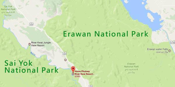 Erawan National Park Sai Yok National Park MAP