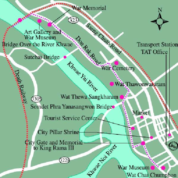 River Kwai Death Railway Kanchanaburi MAP