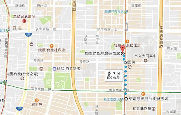 泰國觀光局台北辦事處地圖