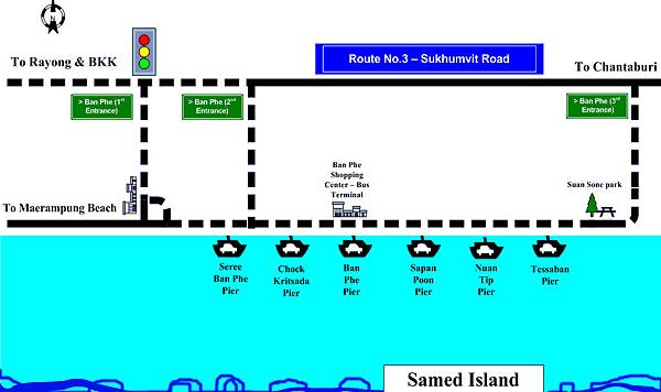 Rayong Piers to Koh Samed MAP