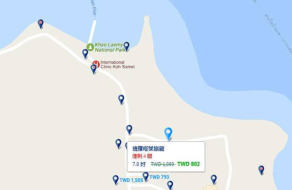 Baan Rom Talay samed map