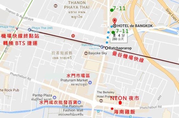 曼谷飯店 (Hotel De Bangkok)水門市場區map