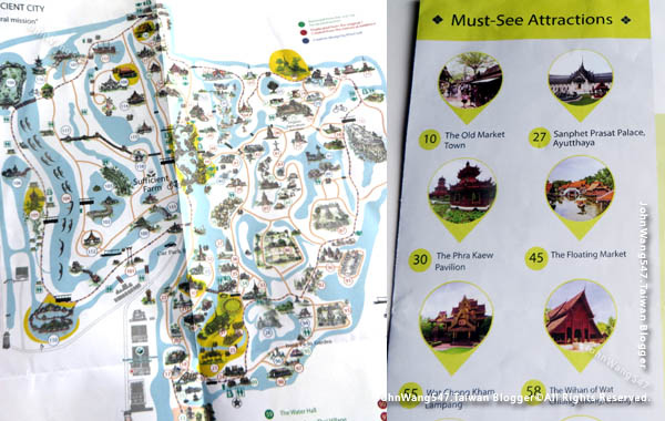 The Ancient City(Ancient Siam) tourist map