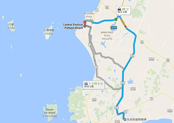 烏打拋(烏塔保)國際機場Central Festival Pattaya Beach百貨MAP.jpg