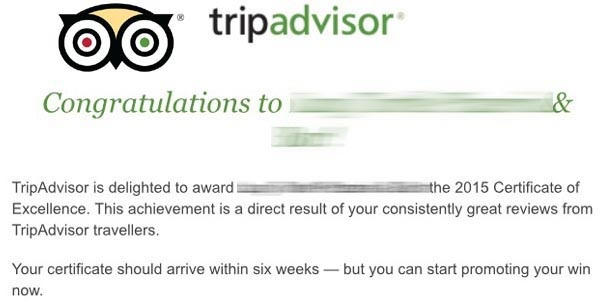 TripAdvisor Certificate of Excellence Winner INFO