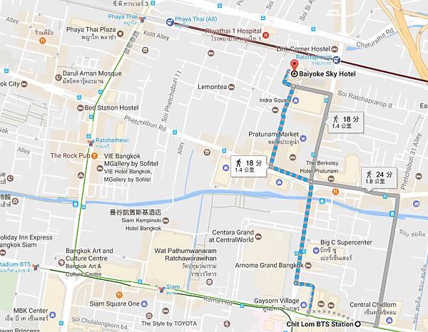 Chit Lom BTS Station,-Baiyoke Sky Hotel map