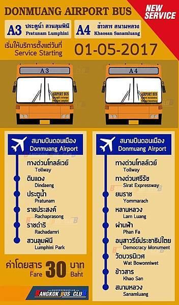 A3 A4 BUS曼谷廊曼機場巴士map