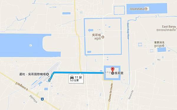 暹粒吳哥國際機場到吳哥窟map