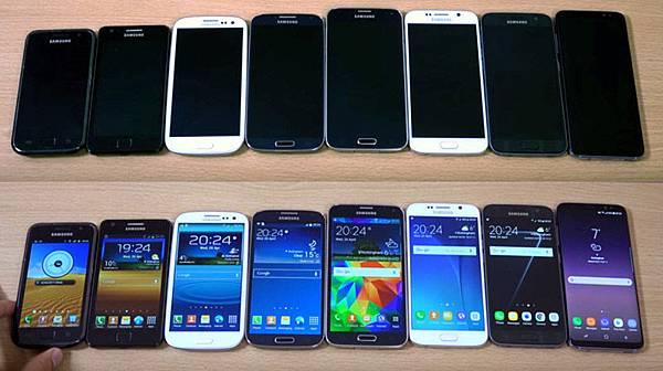 Samsung Galaxy S8 S7 S6 S5 S4 S3 S2 S1 size
