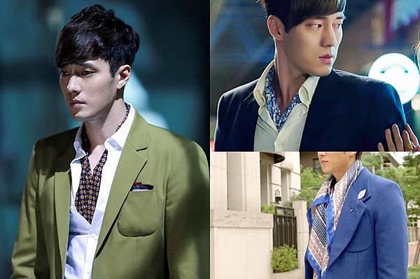 韓國花美男襯衫內加絲巾點綴