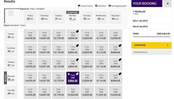 Thai Airways(泰航)台北曼谷來回機票特價