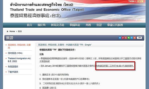 2018泰國觀光簽證改隔日取件