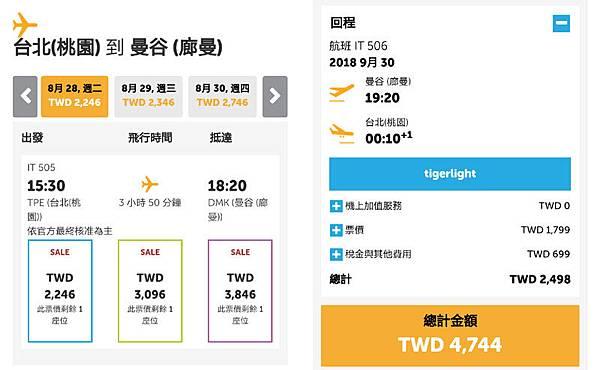 虎航特價機票2018Tigerair曼谷來回機票