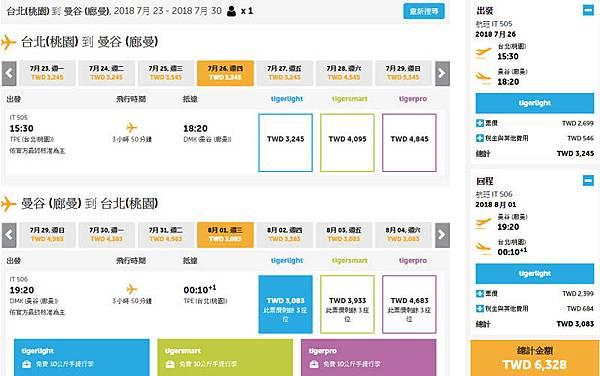 虎航Tigerair暑假曼谷機票